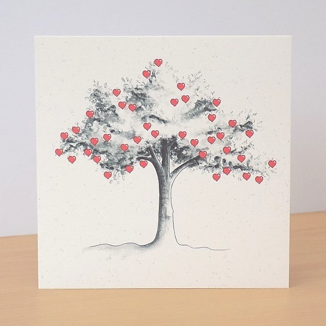 Eco-Friendly Card  Heart Tree - Blank