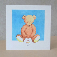 Eco-Friendly Card  Teddy Bear Cake - Blank