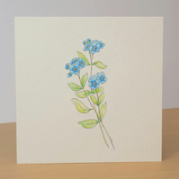Blank Forget-me-not Card ecofriendly