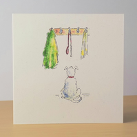 Dog Walkies Blank Card Ecofriendly