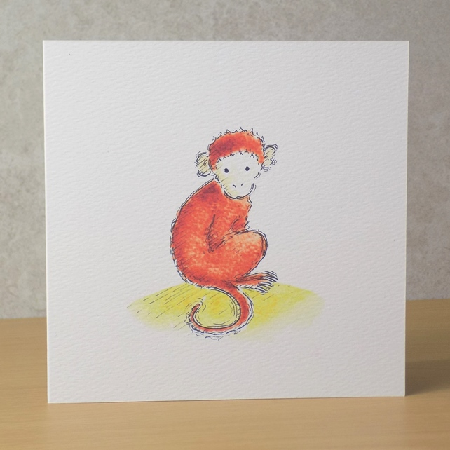 Monkey Blank Card Ecofriendly