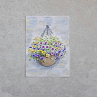 Original Watercolour ACEO  'Flower Basket' (3.5 inches x 2.5 inches)