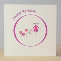 Birthday Card Flower Garden Ecocfriendly