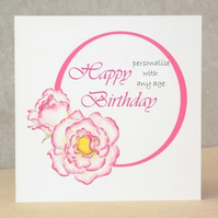 Age Birthday Card Rose - Printed with any age