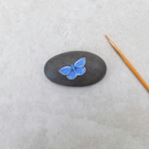 Painted Stone 'Common Blue' Butterfly