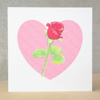 Red Rosebud Blank Card Ecofriendly