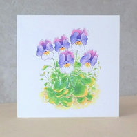 Eco-friendly Card Pansies - Blank