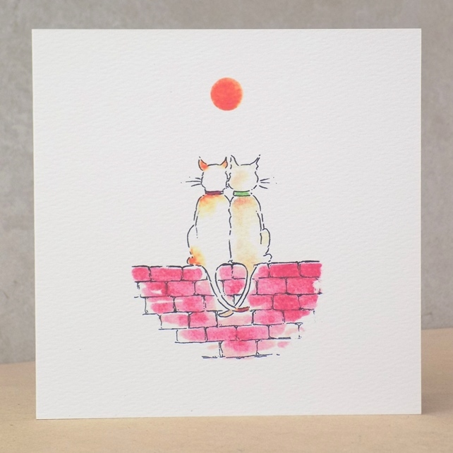 Eco Friendly blank Cat Anniversary, Engagement Card