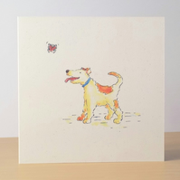 Dog and Butterfly blank card Ecofriendly