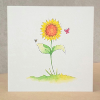 Eco-friendly Card  Sunflower Garden - Blank