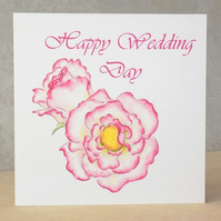 Happy Wedding Day Card  Rose -  Personalised option available