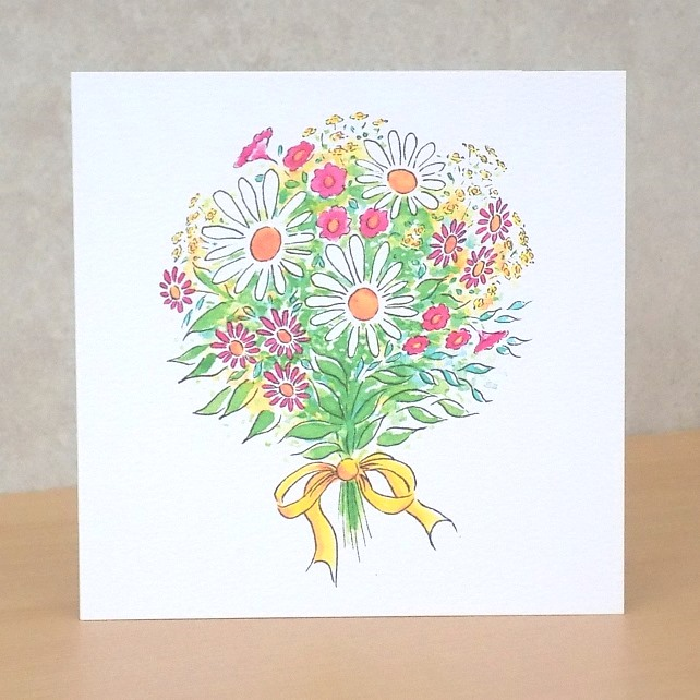 Eco-friendly Card  Flower Bouquet -  Blank