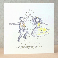 Wedding Card Jump (Brunette) Ecofriendly -  Personalised option available