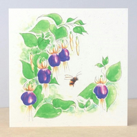 Eco Friendly Blank Card Fuchsia Bee