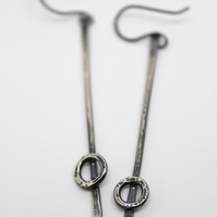 Long silver earrings, long oxidised silver earrings with circle, hammered silver