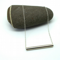 Silver bar necklace, simple silver tube necklace, minimalist necklace