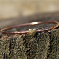 hammered copper bangle with brass gold heart, copper and brass bangle,