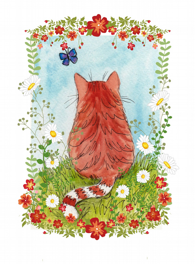 Ginger kitty with flower border