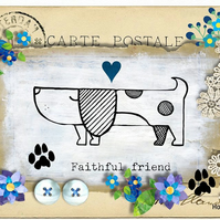 Doggy, Faithful Friend with Flowers Greeting Card