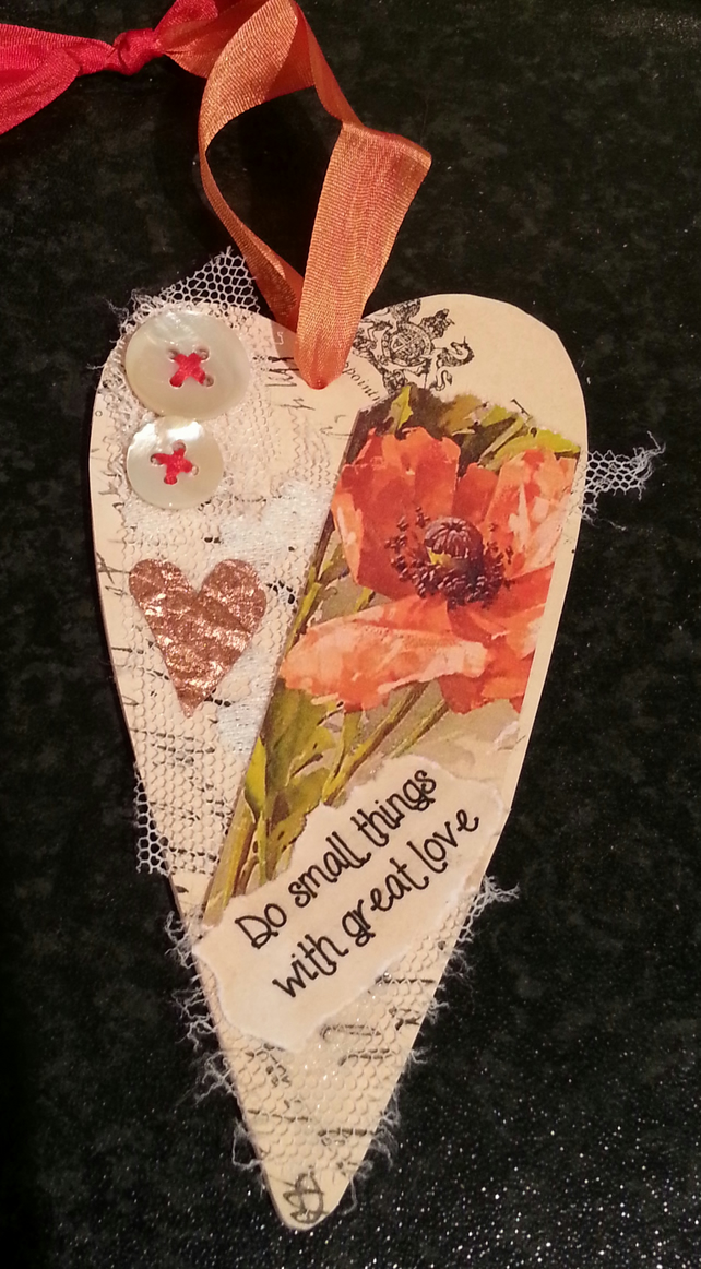 Poppy Collage Wooden Heart Decoration