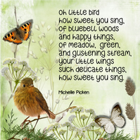 Bird Poem with Flowers & Baby Robin Greeting Card