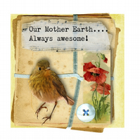Robin & Poppies Greeting Card - Mother Earth