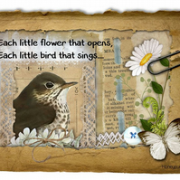 Bird Art Print  Each Little Flower that opens Mixed Media Print