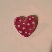 Ceramic Spotty Pottery Heart  Brooch in Purple and White
