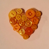 Textile Button Heart  Brooch in Sunny Yellow