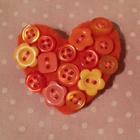 Felt Button Heart  Brooch in Orange Textile