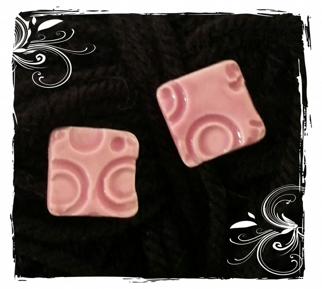 Ceramic stud Earrings Small pink Square textured