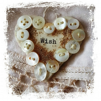 Ceramic Brooch Wish Mother of Pearl Buttons OOAK