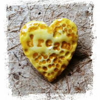 Heart, Dream, Pottery Yellow Brooch, Rustic Style OOAK