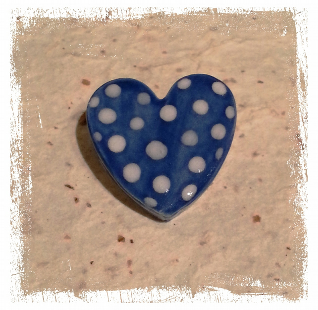 Ceramic Spotty Pottery Heart  Brooch in Bright Blue and White