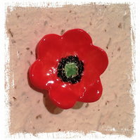 Ceramic Poppy Brooch Quirky Fun OOAK flower