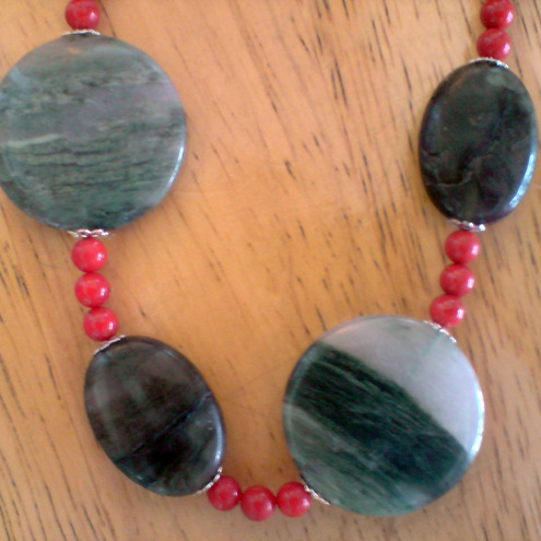 Green Rutilated Quartz and Labradorite, Red Bamboo Gemstone Necklace