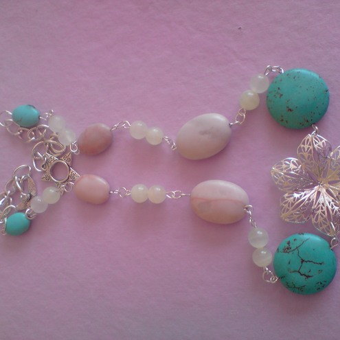 Turquoise Coin, Picasso Jasper Ovals, Necklace
