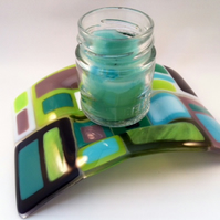 Colour Block Fused Glass Candle Bridge