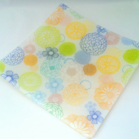 Flower Print Glass Platter