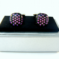 Polka Dot Glass Cuff Links