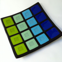 Blue & Green Block Fused Glass Platter