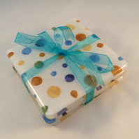 Polka Dot Fused Glass Coaster Set