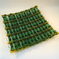 Dark Green Woven Fused Glass Plate
