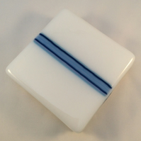 Blue Stripe Fused Glass Coaster Set