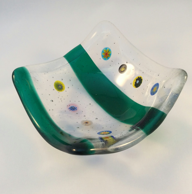 Millefiori Fused Glass Trinket Dish