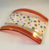 Polka Dot Fused Glass Candle Bridge