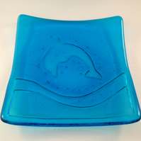 Turquoise Blue Fused Glass Dolphin Plate