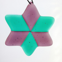 Purple & Aqua Fused Glass Star Christmas Tree Decoration