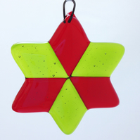 Bright Green & Red Fused Glass Christmas Star Tree Decoration