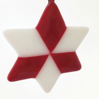 Red & White Fused Glass Christmas Tree Decoration